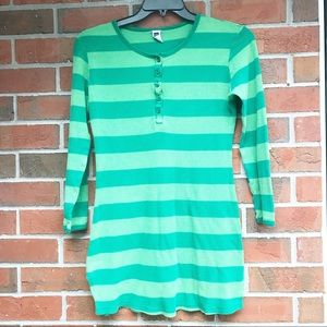 4/$25 Gap Stripped green thermal Henley dress